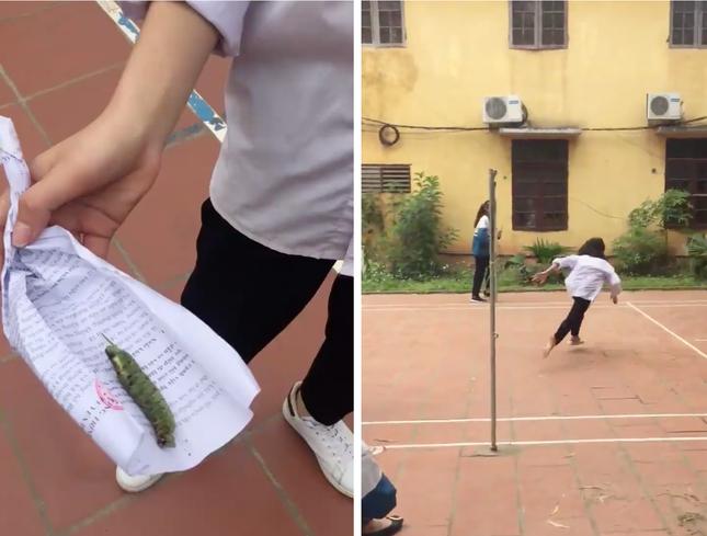 Clip: Pha khinh công xuất thần của nữ sinh khi bị bạn dọa, chạy hết sân trường nhanh hơn cả Usain Bolt - Ảnh 2.