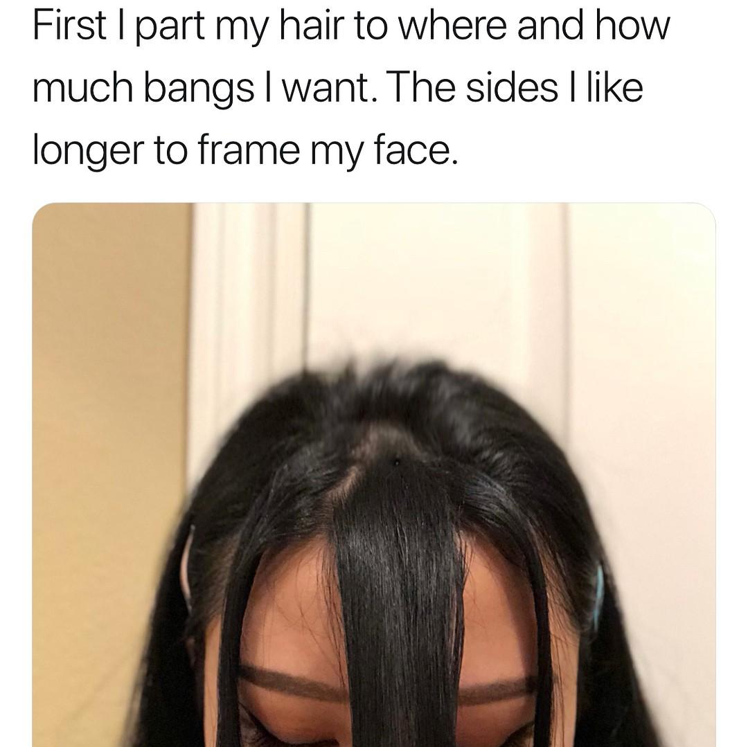 Cô nàng từng gây sốt với da bóng mịn như gương tiếp tục chia sẻ bí kíp tự cắt tóc mái thưa Hàn Quốc tại nhà - Ảnh 3.
