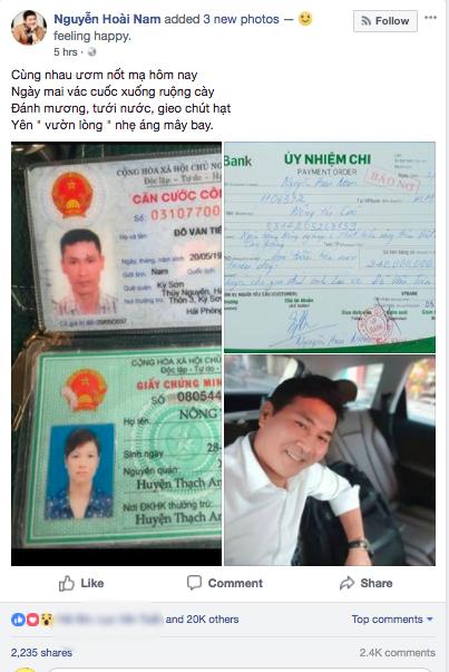 Doanh nhân Nguyễn Hoài Nam đăng tờ biên lai đã chuyển 240 triệu cho vợ tài xế Tiến - Ảnh 1.