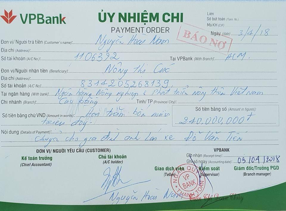 Doanh nhân Nguyễn Hoài Nam đăng tờ biên lai đã chuyển 240 triệu cho vợ tài xế Tiến - Ảnh 2.