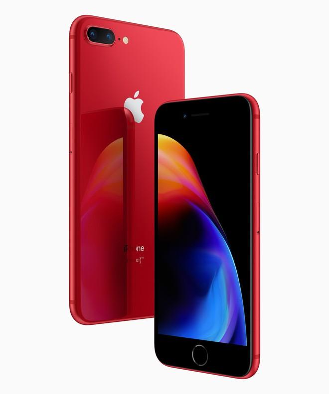 Apple chính thức ra mắt iPhone 8 và 8 Plus đỏ (PRODUCT)RED: Mặt trước màu đen, bán ra 13/4, giá từ 699 USD - Ảnh 1.