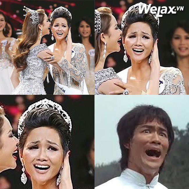 """Biểu cảm lúc đăng quang không rõ """"cười hay mếu"""" của Tân hoa hậu Hoàn vũ H'Hen Niê lại thành nguồn chế ảnh bất tận! - Ảnh 3."""