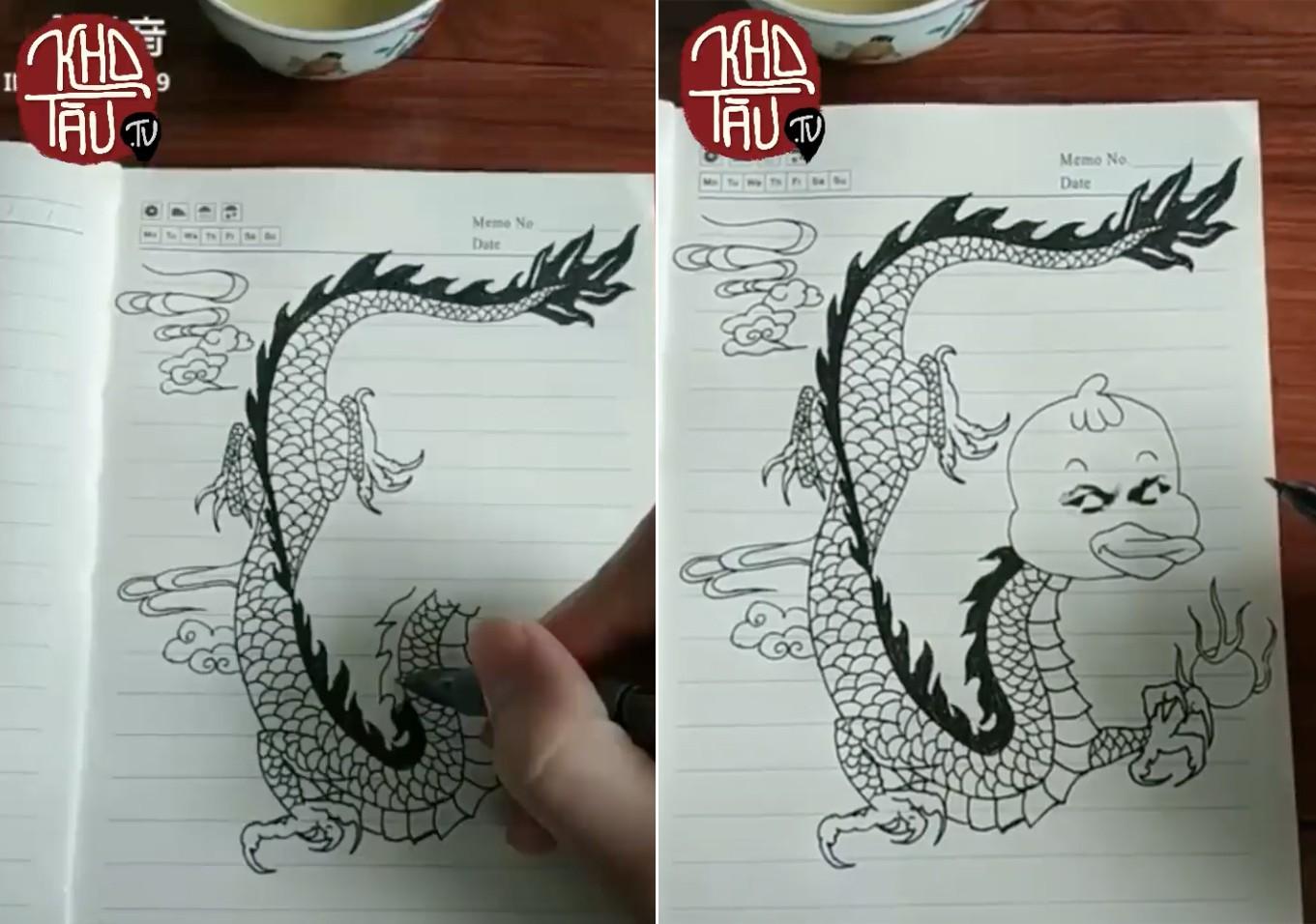 Tài năng có hạn nhưng vẫn thích thể hiện, anh trai vẽ rồng giúp em gái và cái kết cười ra nước mắt - Ảnh 3.