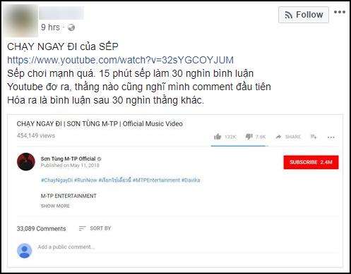 Xem xong Chạy ngay đi, dân tình Facebook hét giá chục triệu cho tài khoản Like, comment đầu tiên vào MV - Ảnh 2.