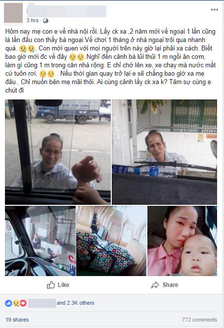 Lấy chồng xa 2 năm mới cho con về thăm ngoại, mẹ trẻ rớt nước mắt khi thấy bà bịn rịn chia tay cháu qua cửa kính xe - Ảnh 1.