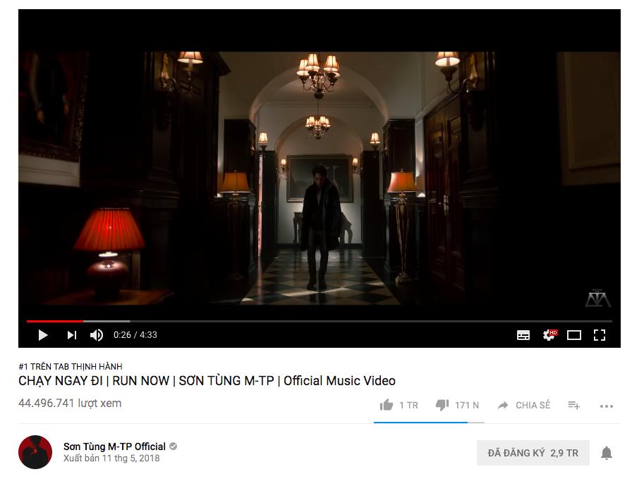 MV Chạy ngay đi của Sơn Tùng M-TP trở lại #1 trending, đạt 1 triệu lượt like trên Youtube chỉ sau 5 ngày ra mắt - Ảnh 1.