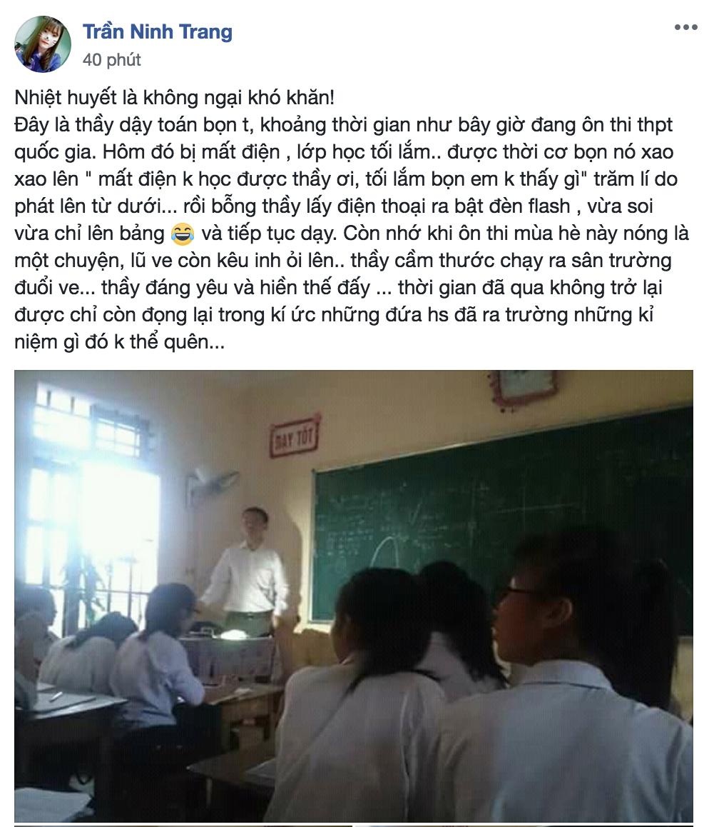 Thầy giáo tâm huyết bật đèn flash giảng bài, cầm thước kẻ ra sân đuổi ve để học sinh yên tĩnh ôn thi - Ảnh 1.