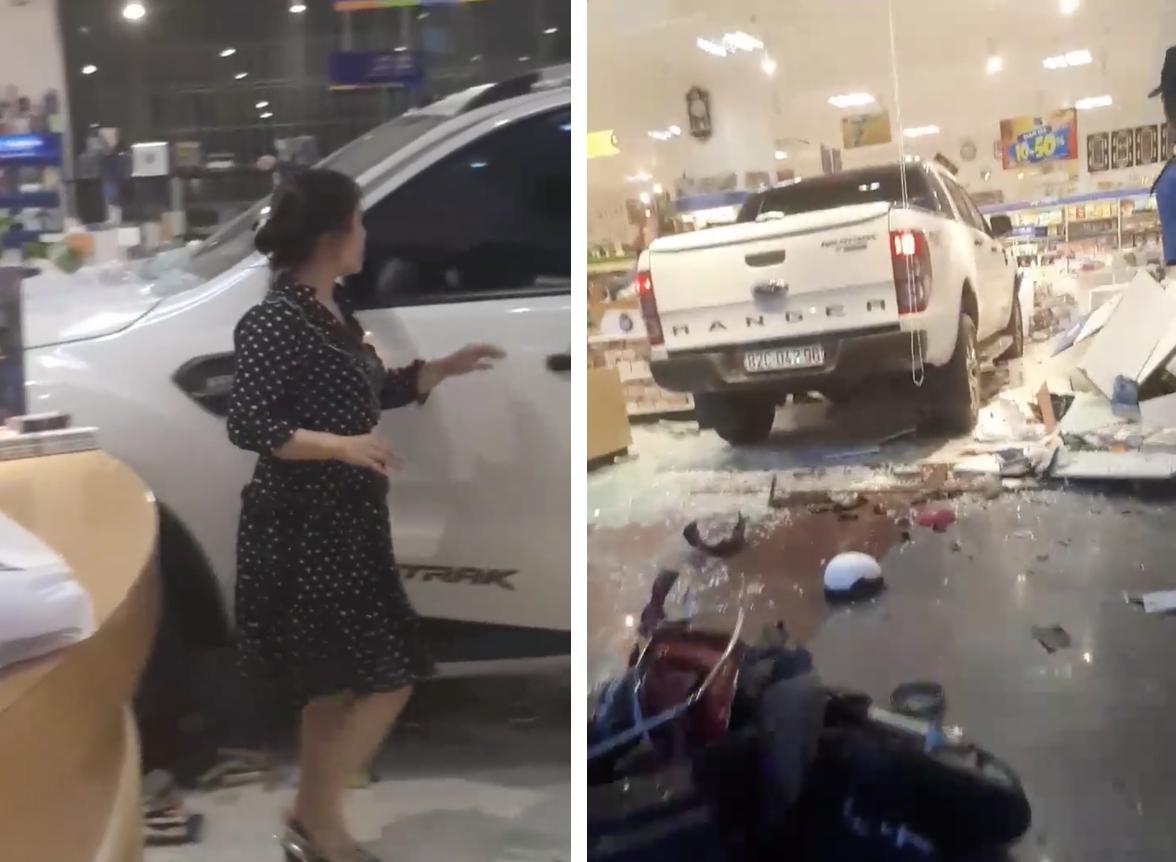 Kon Tum: Một phụ nữ lái xe bán tải chui tọt vào hiệu sách cho mát - Ảnh 2.