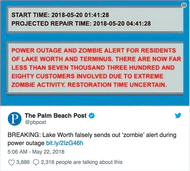 Một hệ thống báo động bị hack, gửi tin nhắn cảnh cáo về cuộc xâm chiếm của xác sống đến hàng ngàn người tại Mỹ - Ảnh 2.