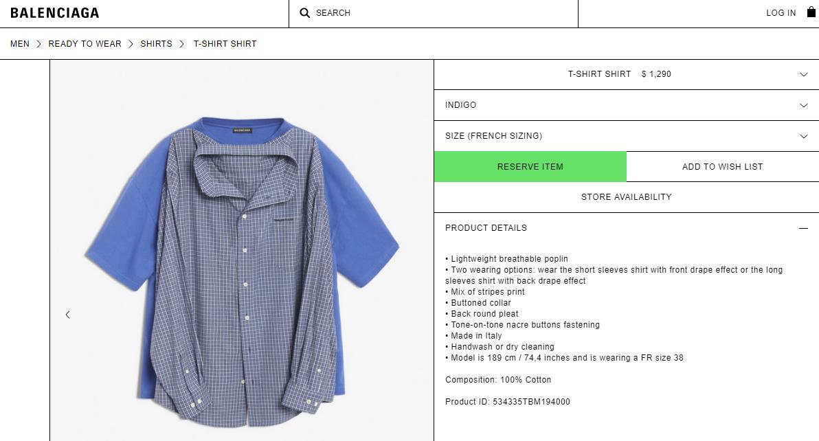 Balenciaga vừa tạo ra chiếc áo sơ mi phông có giá gần 30 triệu VNĐ và