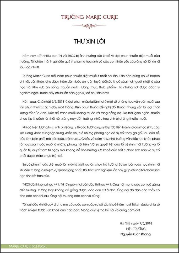 Học sinh bị dị ứng do thuốc diệt muỗi và lá thư xin lỗi xúc động từ thầy hiệu trưởng - người ông thân thương của hàng nghìn học sinh Marie Curie - Ảnh 2.