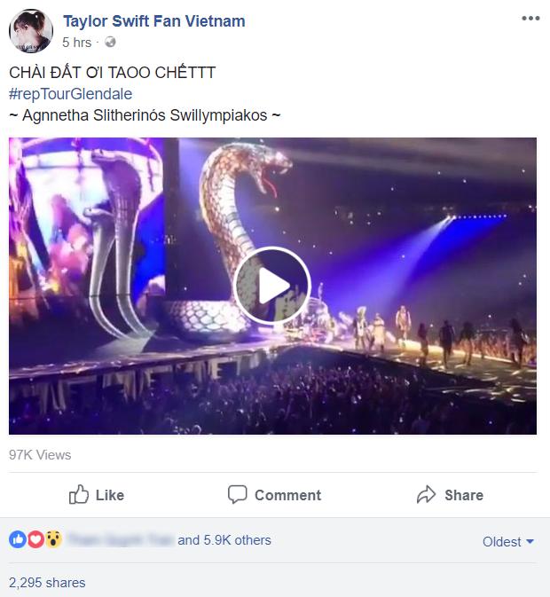 Fancam cận cảnh sân khấu rắn khổng lồ ngoe nguẩy khi Taylor Swift biểu diễn - Ảnh 1.
