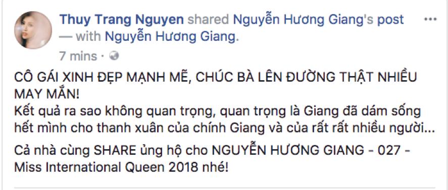 Hương Giang Idol được loạt sao Việt ủng hộ tham dự Miss International Queen 2018 - Ảnh 7.