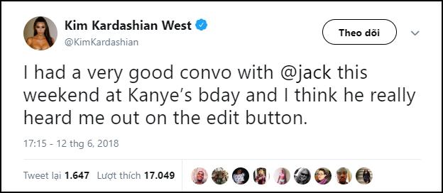 Kim Kardashian ngấm ngầm vận động hành lang CEO Twitter để được update theo ý của riêng mình - Ảnh 1.