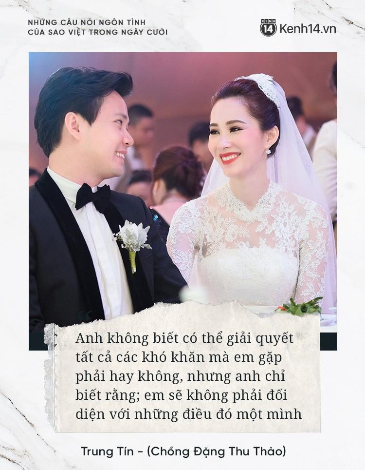 """""""Lụi tim"""" với những câu nói đậm chất ngôn tình của nửa kia dành tặng cho sao Việt trong ngày cưới - Ảnh 1."""