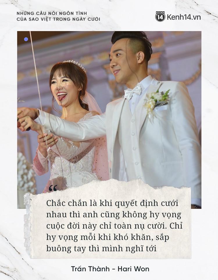 """""""Lụi tim"""" với những câu nói đậm chất ngôn tình của nửa kia dành tặng cho sao Việt trong ngày cưới - Ảnh 4."""