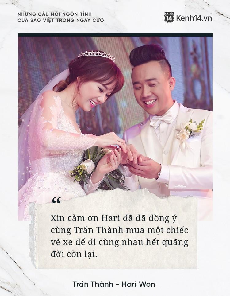 """""""Lụi tim"""" với những câu nói đậm chất ngôn tình của nửa kia dành tặng cho sao Việt trong ngày cưới - Ảnh 3."""