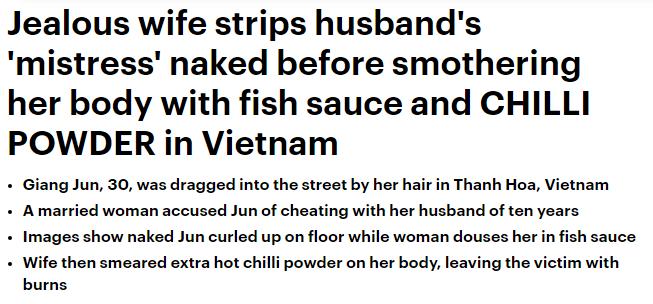Báo chí phương Tây đưa tin vụ đánh ghen bằng nước mắm và ớt bột ở Thanh Hóa 1