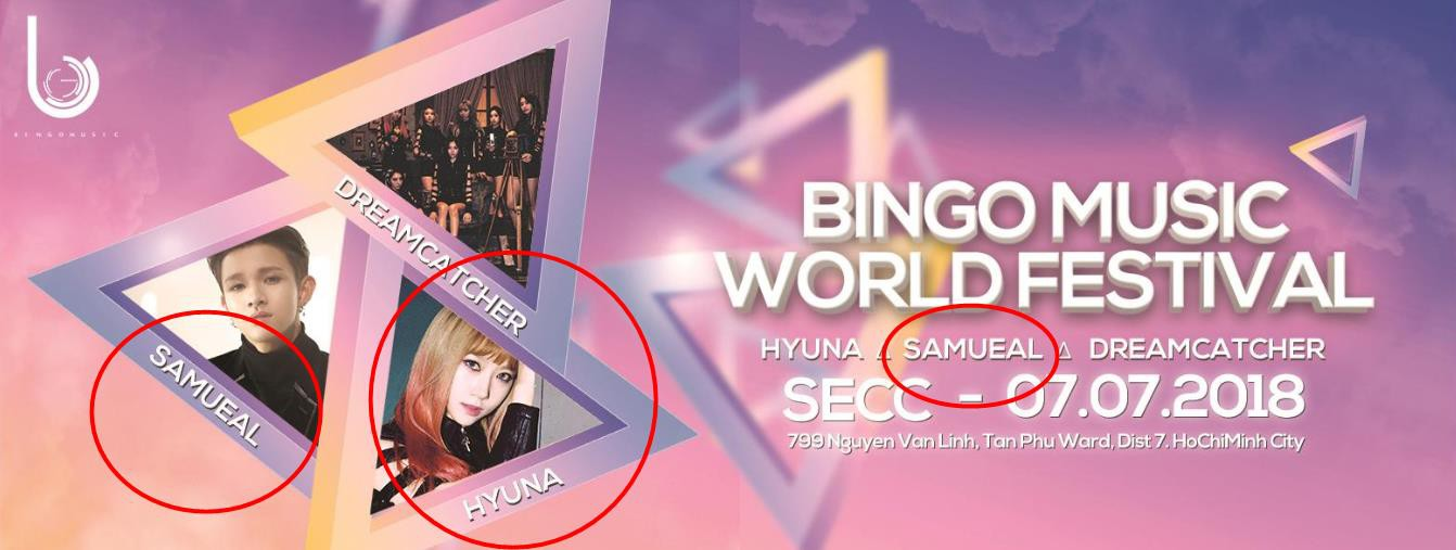 Poster chính của sự kiện Kpop sắp tổ chức tại TP.HCM: Sai tên Kim Samuel, nhầm hình HyunA - Ảnh 1.