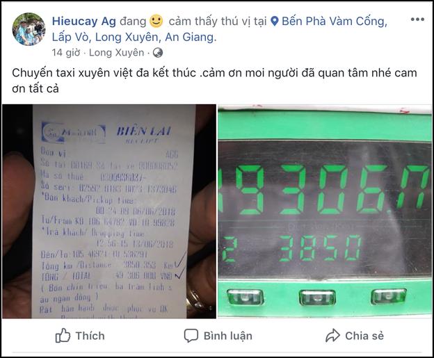 Đã tìm ra chuyến taxi với giá cước khủng hơn cả hành trình 3.850km khứ hồi từ An Giang ra Hà Nội hết 49 triệu tiền cước - Ảnh 1.