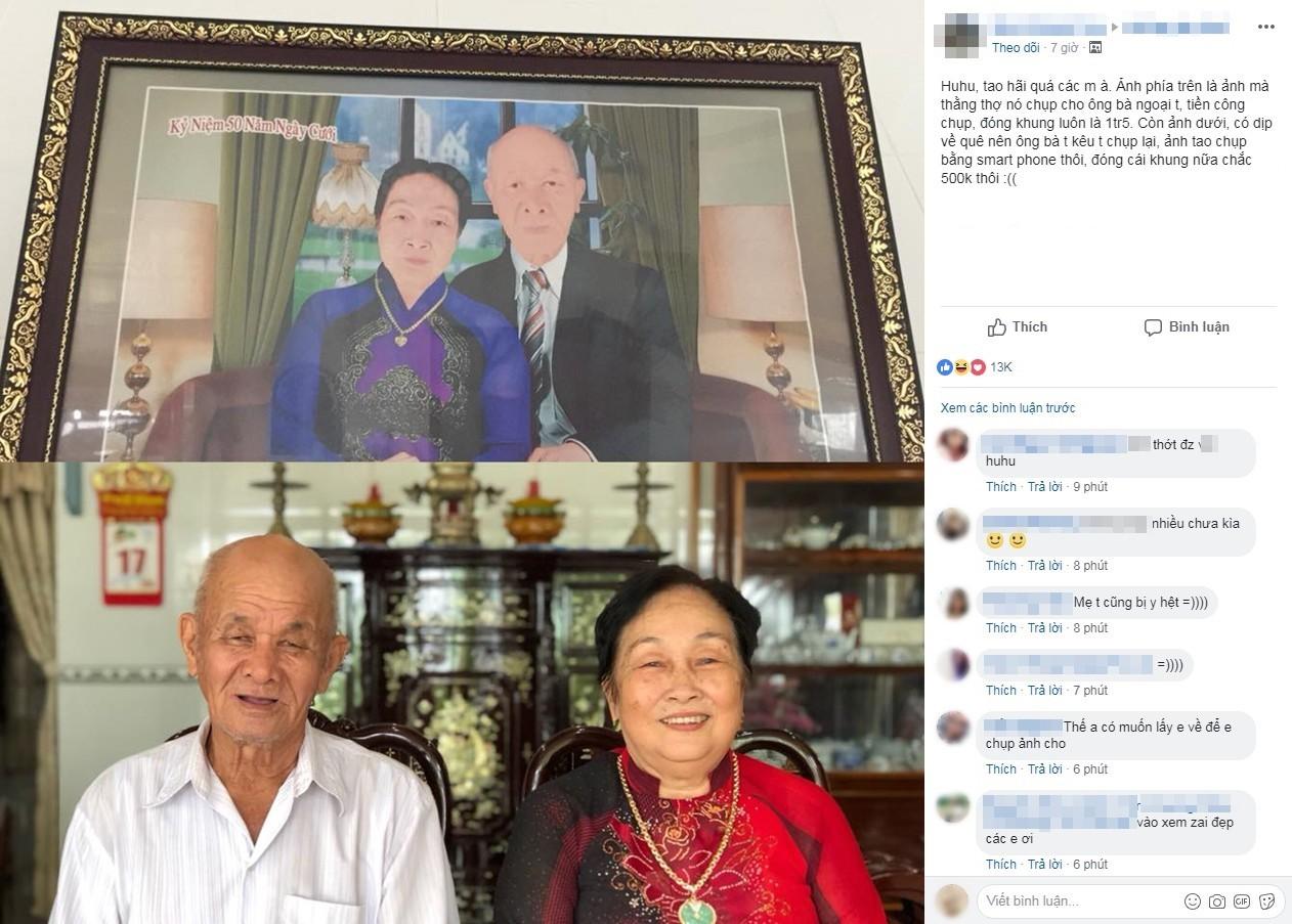 Ông bà ngỡ ngàng nhận ảnh kỷ niệm 50 năm ngày cưới bị photoshop mặt môi trắng bệch, cháu trai chụp bằng điện thoại còn đẹp hơn 1