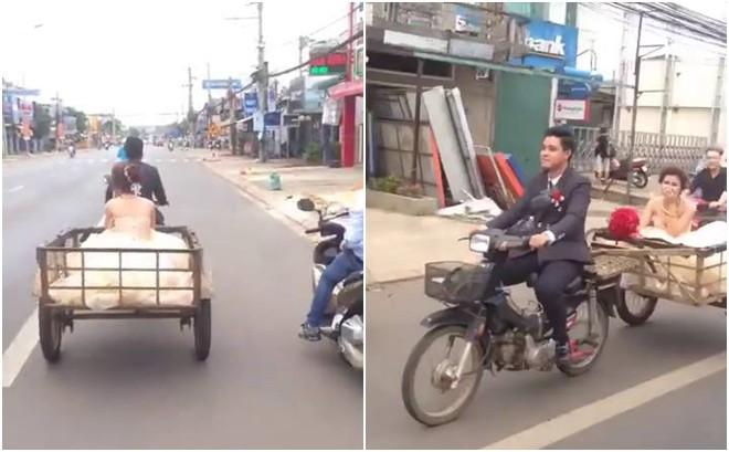 Clip: Chú rể đón dâu bằng xe kéo, cô dâu chẳng nề hà mà vẫn cười tươi khiến cộng đồng mạng thích thú - Ảnh 2.