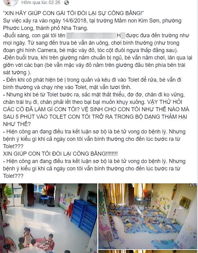 Nha Trang: Bé gái 4 tuổi chết bất thường tại trường mầm non, người mẹ cầu cứu cộng đồng mạng mong đòi lại công bằng cho con - Ảnh 1.