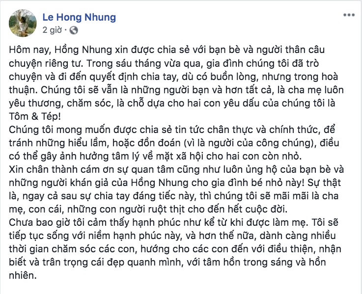 Hồng Nhung chia tay chồng Tây sau 8 năm gắn bó - Ảnh 1.