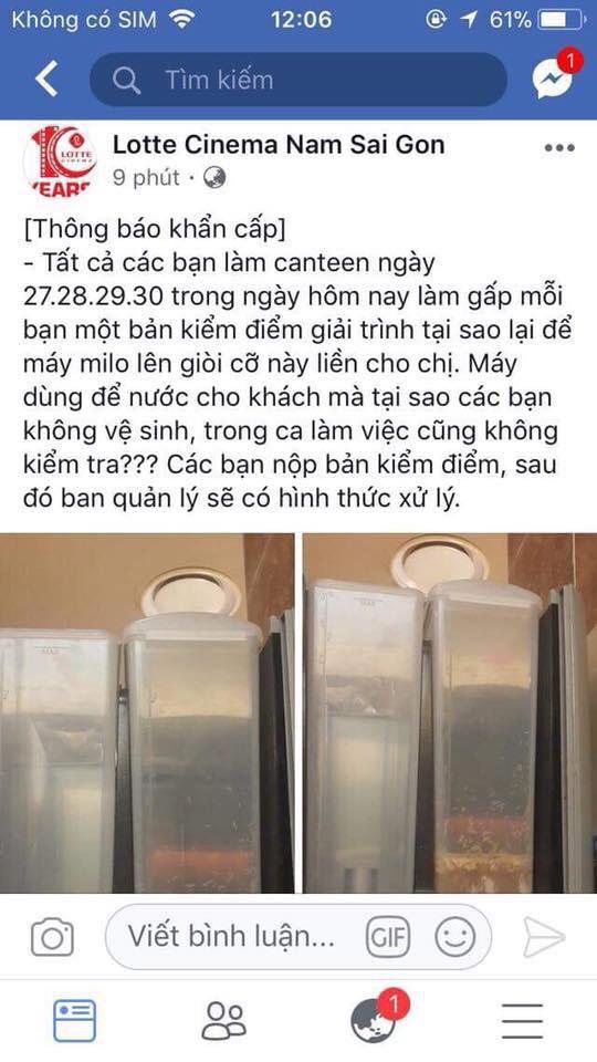 Đăng nhầm thông báo kiểm điểm nhân viên để máy bán sữa có giòi lên fanpage chính thức thay vì group kín, quản lý Lotte Cinema lên tiếng - Ảnh 1.