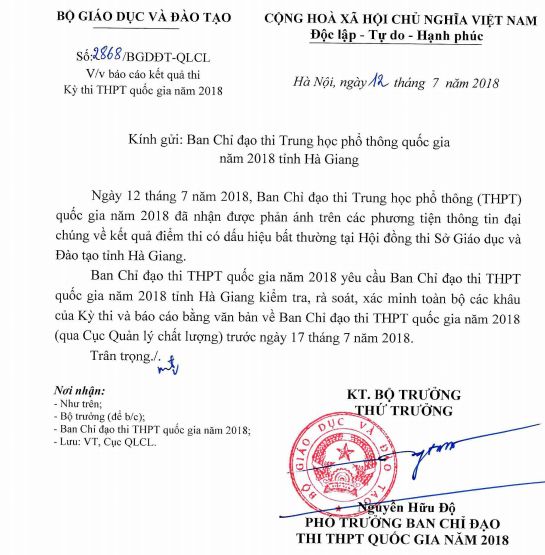 Điểm thi THPT Quốc gia tại Hà Giang cao bất thường, Bộ GD&ĐT yêu cầu rà soát lại - Ảnh 1.