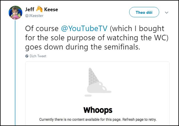 Livestream Anh-Croatia bị sập suốt 40 phút trên YouTube TV, dân tình chỉ còn biết kêu trời - Ảnh 5.