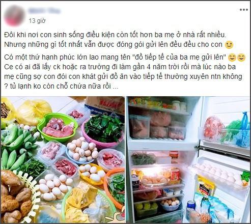 Ra trường đã 4 năm, cô gái trẻ vẫn được mẹ gửi cả núi đồ ăn lên mỗi tháng khiến ai cũng thấy ghen tị - Ảnh 1.