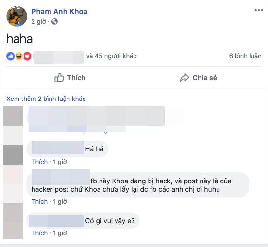 Phạm Anh Khoa trở lại san scandal gạ tình, đăng status khó hiểu - Ảnh 1.