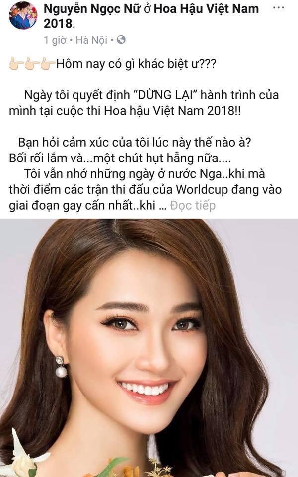 Gương mặt đẹp nhất Hoa hậu Hoàn vũ bất ngờ tuyên bố dừng cuộc chơi tại Hoa hậu Việt Nam 2018 - Ảnh 1.
