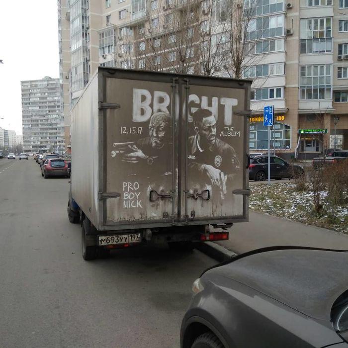 Chàng nghệ sĩ người Nga và những tác phẩm hội họa tuyệt đẹp được vẽ nên từ lớp bụi dày trên ô tô - Ảnh 14.