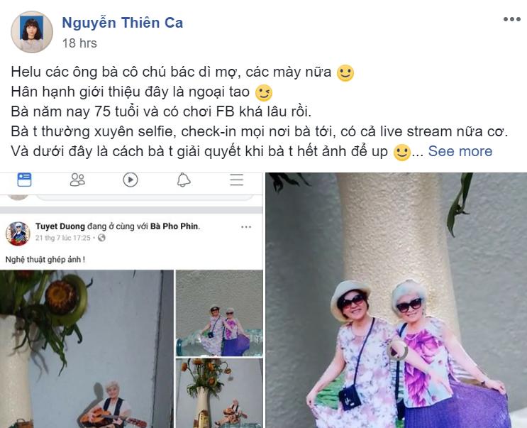 Khi bà ngoại cũng sống ảo: Hết ảnh mới, bà tự cắt ghép hình rồi chụp lại theo concept đăng Facebook - Ảnh 1.
