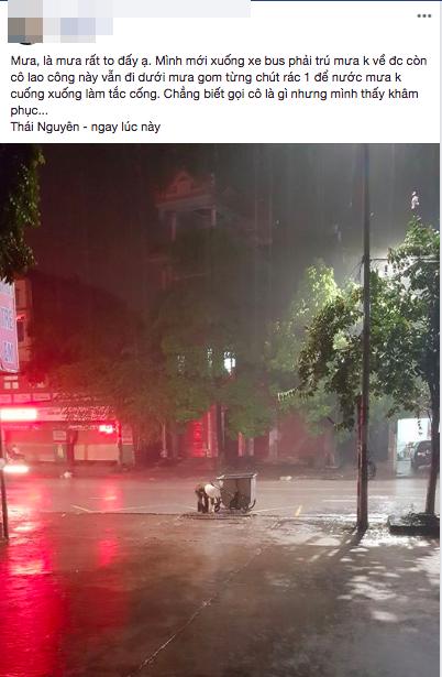 Hình ảnh cô lao công cặm cụi nhặt rác cho khỏi tắc cống dưới trời mưa lớn trong đêm ở Thái Nguyên khiến nhiều người xúc động - Ảnh 1.