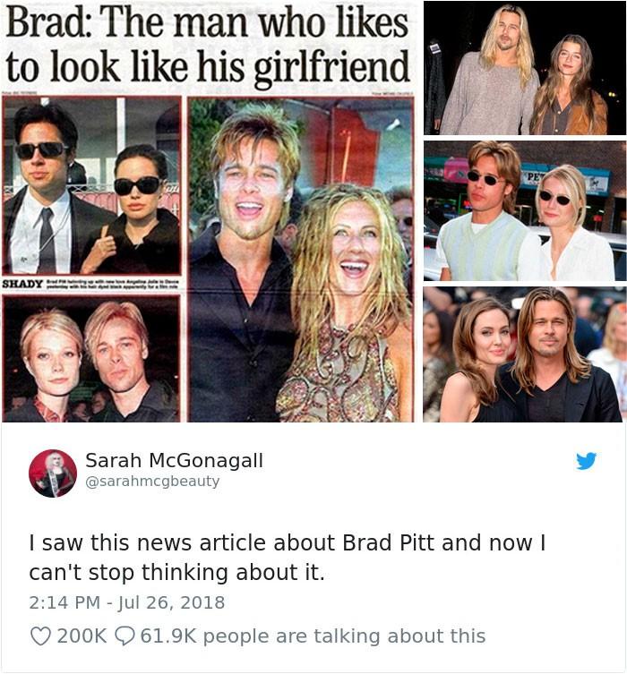 Phải mất đến hàng chục năm, người ta mới nhận ra điểm chung kỳ lạ này trong cả tá mối tình của Brad Pitt - Ảnh 1.
