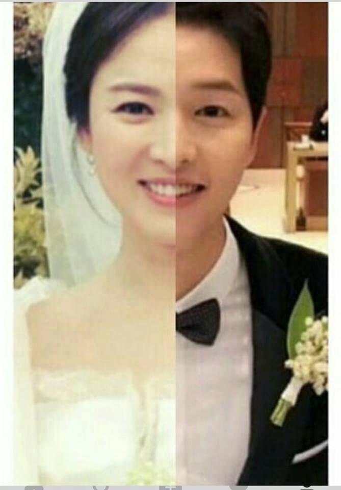 """1. Bức ảnh ghép của Song Joong Ki và Song Hye Kyo tại đám cưới vào cuối năm ngoái từng gây bão vì quá đẹp. Bảo sao khi """"Hậu Duệ Mặt Trời"""" còn đang phát sóng, cặp đôi này lại được dân tình gán ghép điên đảo như thế!"""