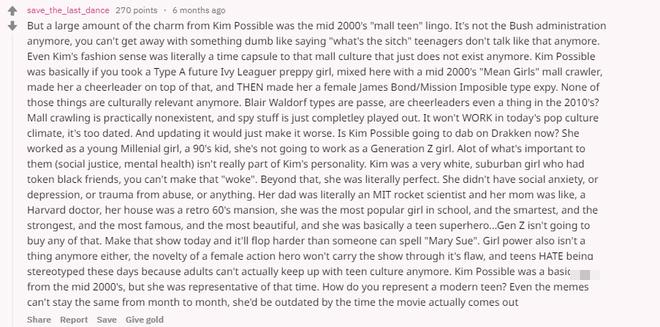 Tài khoản Reddit đã phân tích rất chi tiết về việc tại sao Kim Possible sẽ không bao giờ tới được với khán giả tuổi teen hiện đại.