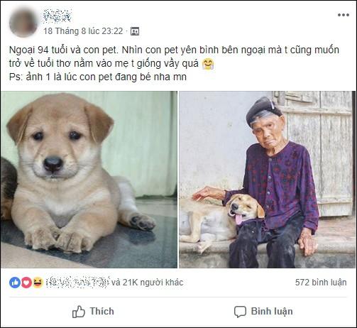 Cháu gái khoe ảnh ngoại thân thiết bên chú pet nhưng cộng đồng mạng chỉ cười ngất bởi dáng ngủ siêu lầy lội của chú chó cưng - Ảnh 1.