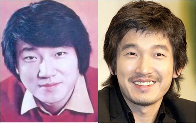 Jo Kyung Soo thời trẻ (trái) và con trai Jo Seung Woo.