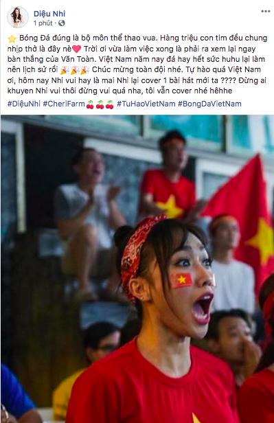 Sao Vbiz vỡ oà sung sướng khi Văn Toàn ghi bàn, đưa Việt Nam vào bán kết ASIAD 2018 - Ảnh 13.