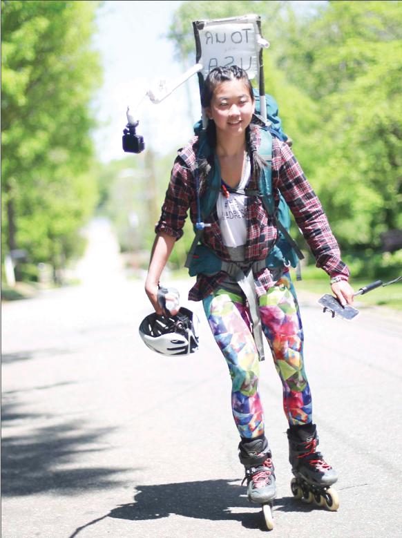 Cô gái 23 tuổi trượt patin xuyên nước Mỹ mà không một xu dính túi, thậm chí không có cả thức ăn nước uống - Ảnh 2.