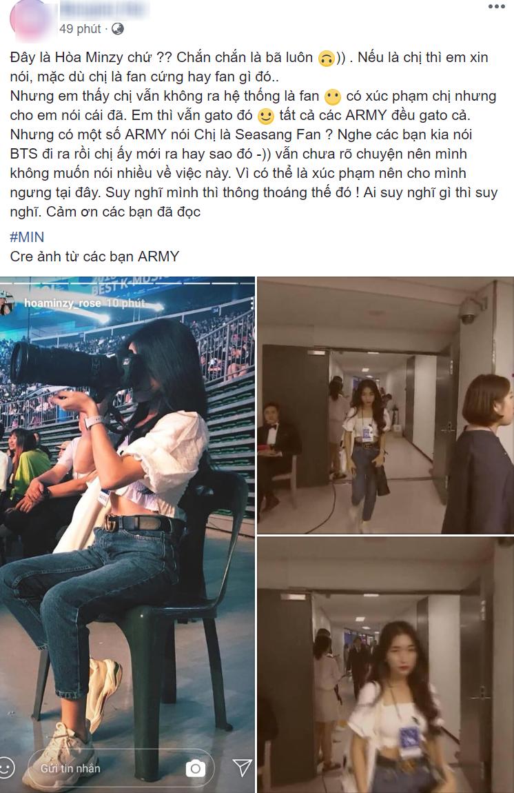 Tranh cãi việc Hòa Minzy bị ARMY tố hám fame, như fan cuồng vì vào tận hậu trường theo BTS tại lễ trao giải - Ảnh 1.