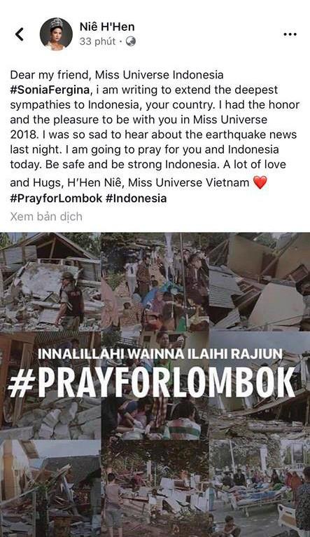 HHen Niê động viên Hoa hậu Hoàn vũ Indonesia sau trận động đất lịch sử khiến gần 100 người thiệt mạng - Ảnh 1.