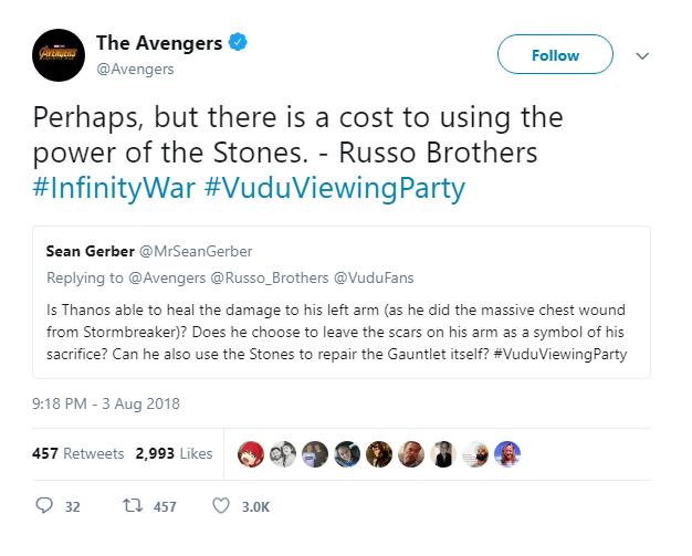 """Đạo diễn của phim cho rằng Thanos """"có thể"""" lành vết thương nhưng chắc chắn vẫn sẽ phải trả giá vì tội lạm dụng sức mạnh của đá vô cực."""