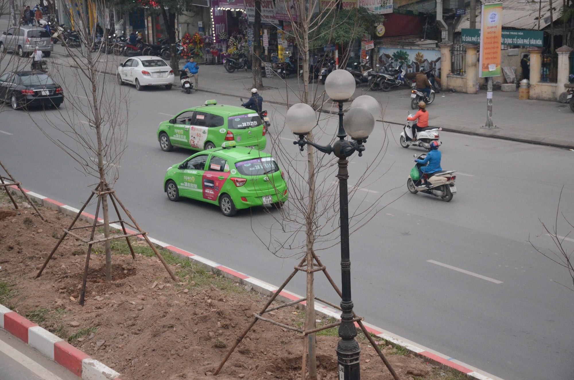 Chùm ảnh: Tận thấy hàng trăm cây phong lá đỏ mới được trồng trên phố Trần Duy Hưng ở Hà Nội - Ảnh 9.