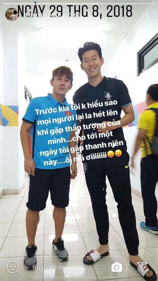 Minh Vương khoe ảnh chụp cùng Son Heung-min sau ASIAD 2018 - Ảnh 1.