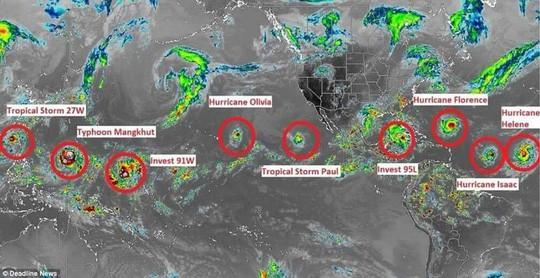"""9 cơn bão xuất hiện cùng lúc, chuyên gia cảnh báo điểm """"bất thường"""" - Ảnh 1."""